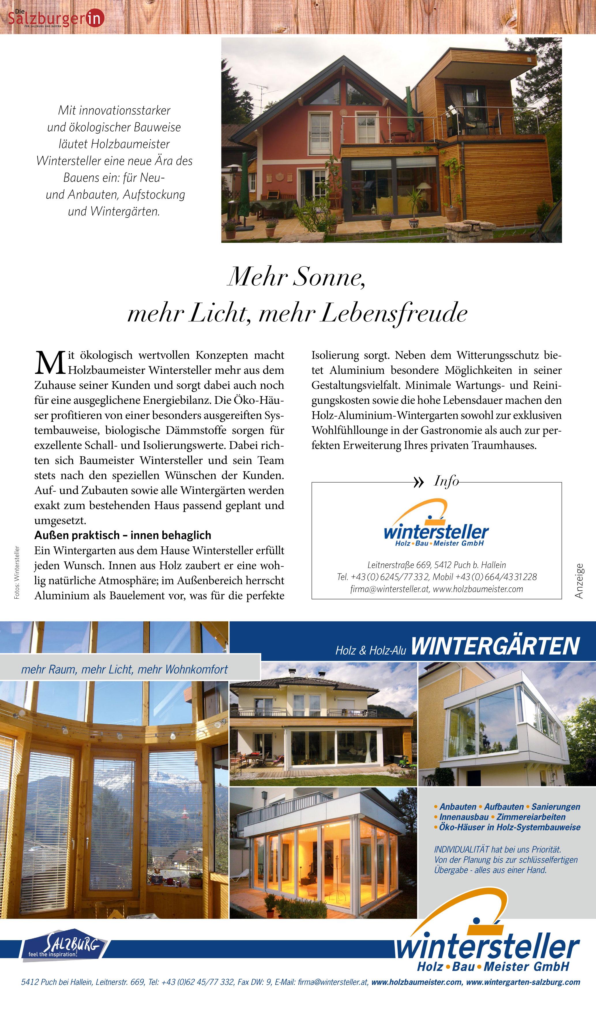 wintergarten salzburg - holzbaumeister wintersteller, Moderne